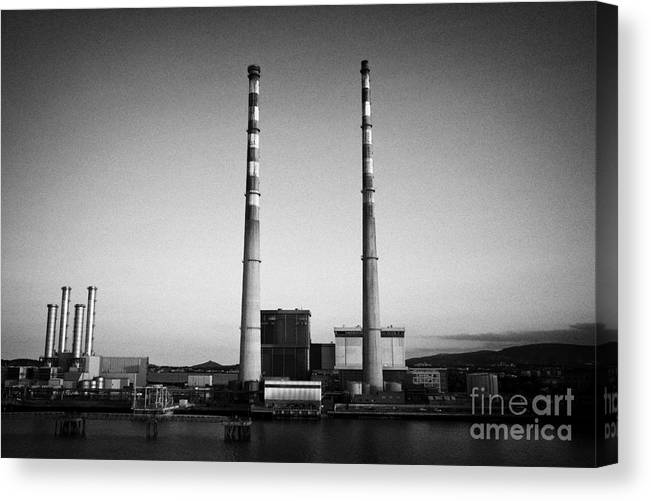 Dublin Canvas Print featuring the photograph Poolbeg Power Station Dublin Port Ireland Eire by Joe Fox