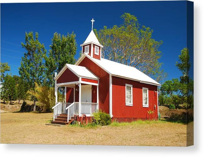 Christian Canvas Print featuring the photograph Pu'uanahulu Baptist Church - Pu'uanahulu by Steven Rice