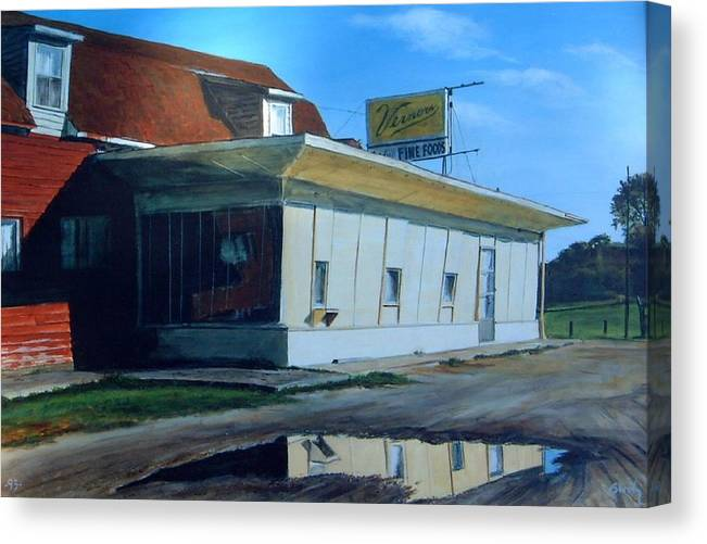 Landscape Canvas Print featuring the painting Reflections Of A Diner by William Brody