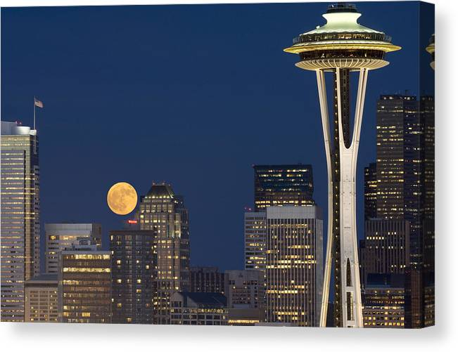 Seattle Canvas Print featuring the photograph Rising From Buildings A142 by Yoshiki Nakamura