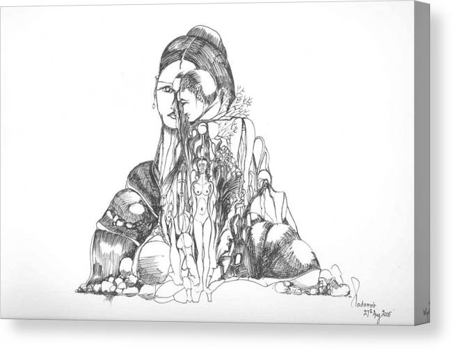 Surreal Canvas Print featuring the drawing Rocks And Bodies by Padamvir Singh
