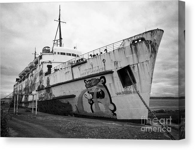 Tss Canvas Print featuring the photograph The Tss Duke Of Lancaster Funship Project At Mostyn North Wales Uk by Joe Fox