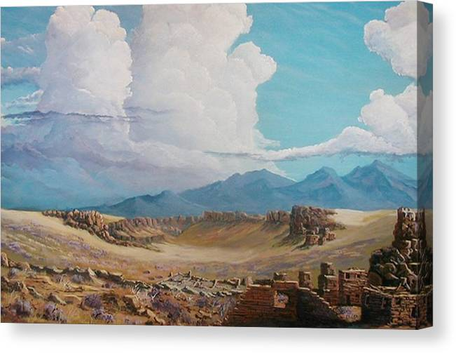 Landscape Canvas Print featuring the painting Time Stands Still by John Wise