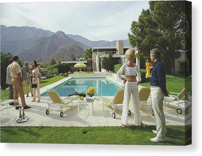 People Canvas Print featuring the photograph Kaufmann Desert House by Slim Aarons