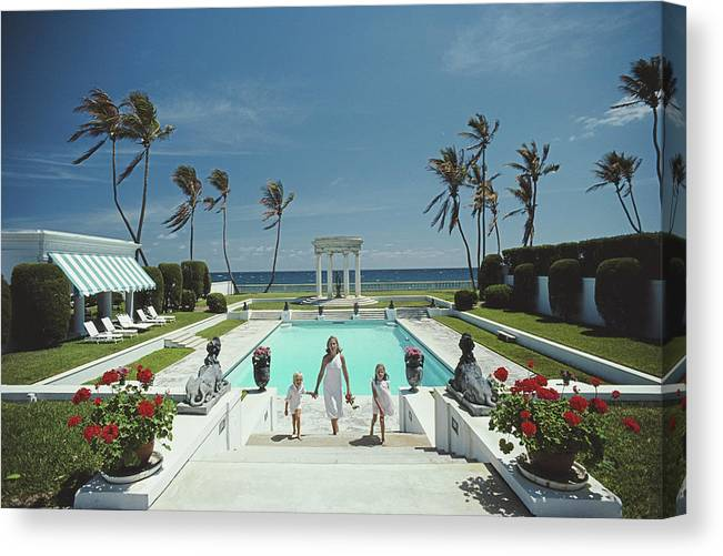 1980-1989 Canvas Print featuring the photograph Neo-classical Pool by Slim Aarons