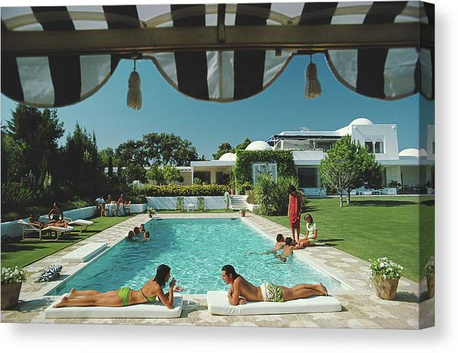 People Canvas Print featuring the photograph Poolside In Sotogrande by Slim Aarons