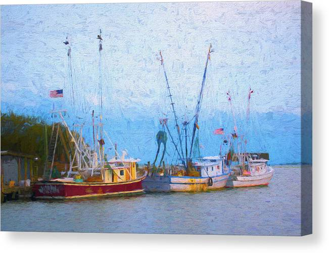 Ocean Canvas Print featuring the digital art Shem Creek Boats V by Jon Glaser