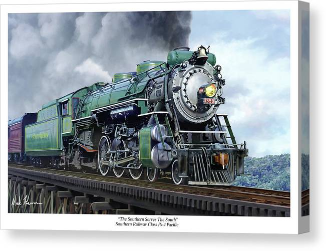 Railraod Canvas Print featuring the painting Southern Railway Class Ps-4 Pacific by Mark Karvon