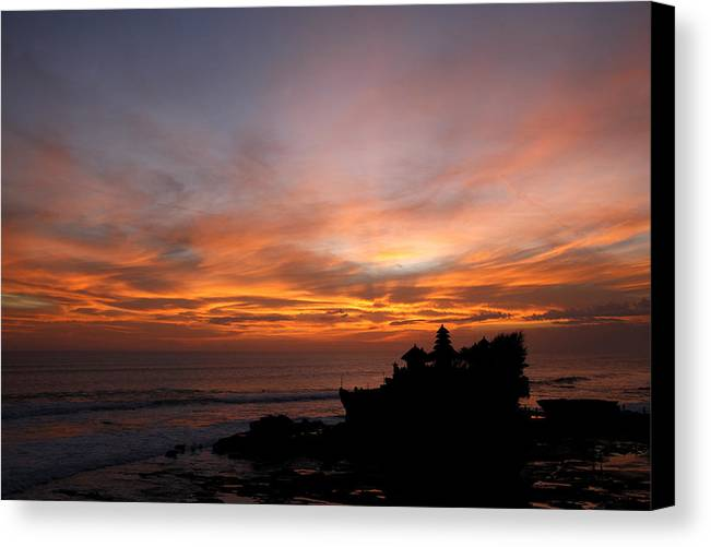 Photo Canvas Print featuring the photograph Temple At Sunset by Carmo Correia