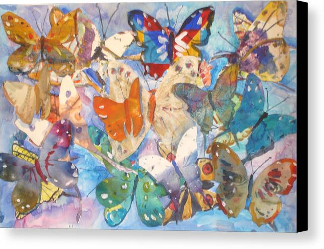 Collage Canvas Print featuring the painting Collage Of Butterflies by Joyce Kanyuk