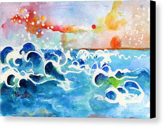 Seascape Canvas Print featuring the painting Evening Tide by Ginette Callaway