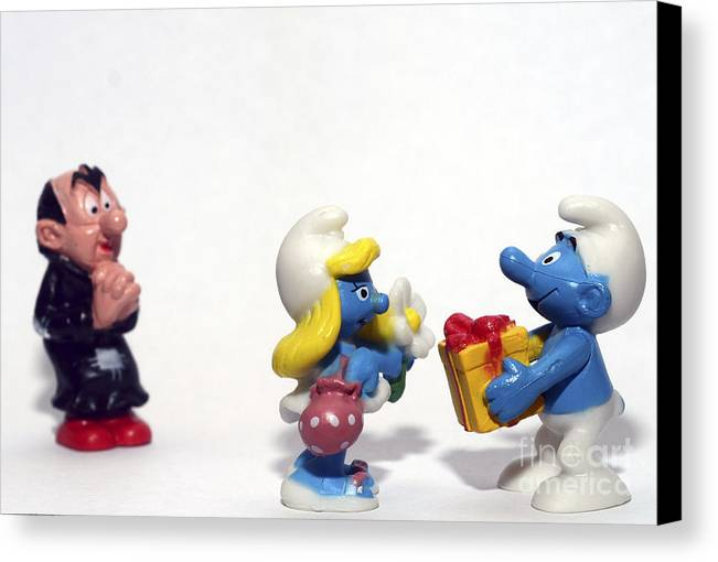 Smurf Canvas Print featuring the photograph Smurf Figurines by Amir Paz