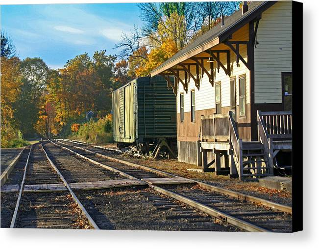 Trains Canvas Print featuring the photograph At The Station by Gerald Mitchell