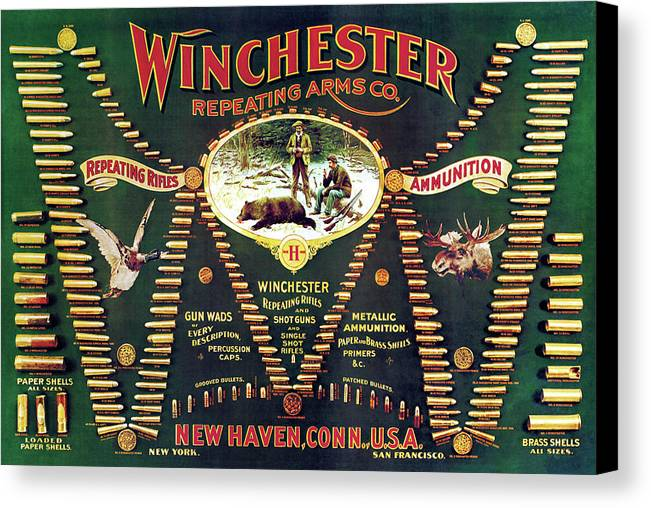 Cartridges Canvas Print featuring the painting Winchester Double W Cartridge Board by Unknown