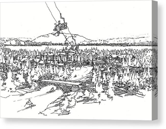 Skiing In Tahoe B/w Dwg Canvas Print featuring the drawing Tahoe by Andrew Drozdowicz