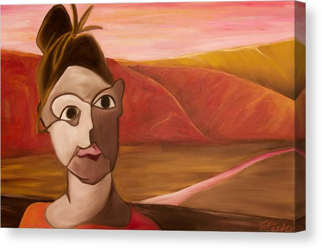 Female Artist Canvas Print featuring the painting Blind Contour Canyon by Claire Wentzel