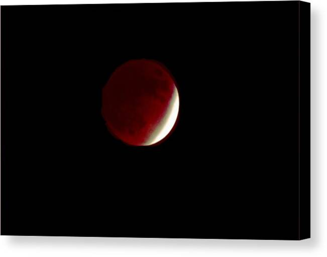 Moon Canvas Print featuring the photograph 110808-1 Lunar Eclipse Near Totality by Mike Davis