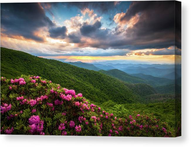 Blue Ridge Parkway Canvas Print featuring the photograph North Carolina Blue Ridge Parkway Scenic Landscape Asheville Nc by Dave Allen