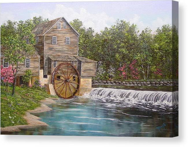Landscape Canvas Print featuring the painting Pigeon Forge Mill by Marveta Foutch