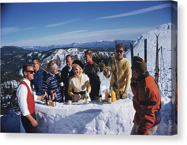 Skiing Canvas Print featuring the photograph Apres Ski by Slim Aarons