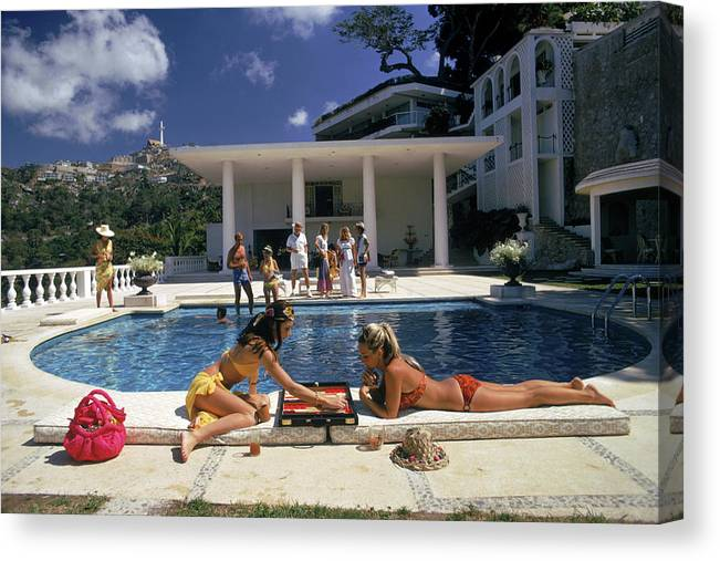 People Canvas Print featuring the photograph Poolside Backgammon by Slim Aarons