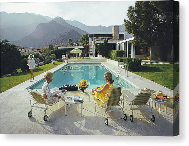 Swimming Pool Canvas Print featuring the photograph Poolside Gossip by Slim Aarons