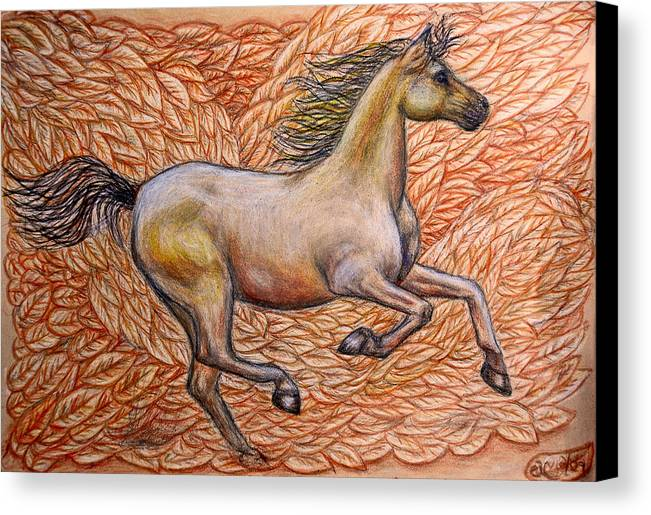 Horse Canvas Print featuring the painting Golden Gallop by Elizabeth Clausen