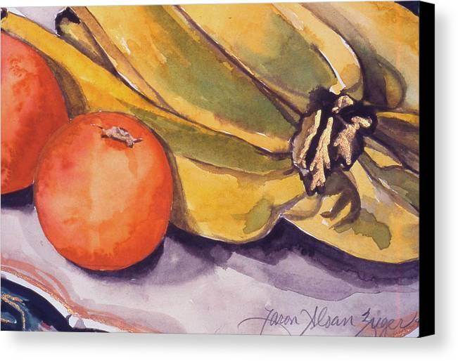 Still-life Canvas Print featuring the painting Bananas And Blood Oranges Still-life by Caron Sloan Zuger