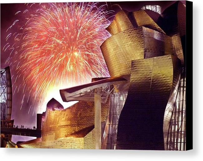 Spain Canvas Print featuring the photograph Fireworks At Guggenheim by Rafa Rivas