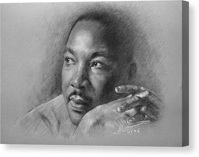 Portrait Canvas Print featuring the drawing Martin Luther King Jr by Ylli Haruni