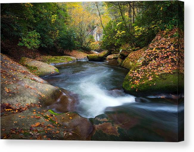 North Carolina Canvas Print featuring the photograph North Carolina Mountain River In Autumn Fall Foliage by Dave Allen