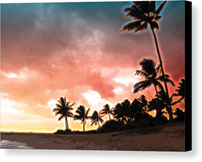 Abstract Canvas Print featuring the digital art Sunset Beach by James Kramer