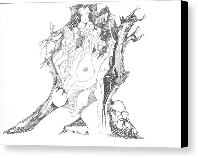 Surreal Canvas Print featuring the drawing A Tree Human Forms And Some Rocks by Padamvir Singh
