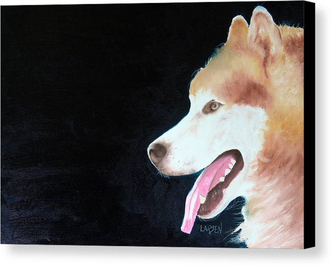 Canvas Print featuring the painting Alaskan Malamute by Dick Larsen