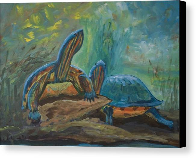 Turtles Canvas Print featuring the painting Lagoon Turtles by Anita Wann