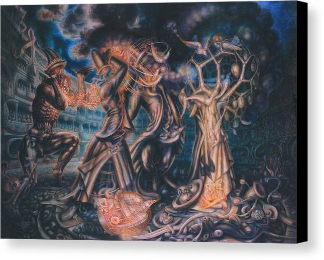 Metaphysik Canvas Print featuring the painting Magicians Competition by De Es Schwertberger