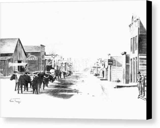 Western Canvas Print featuring the drawing Miles City 1883 by Karen Elkan
