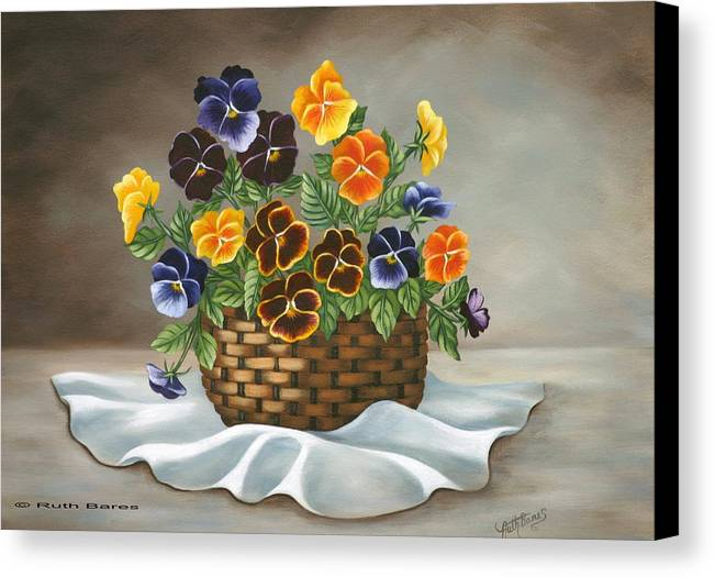 Floral Canvas Print featuring the painting Pansy Basket by Ruth Bares