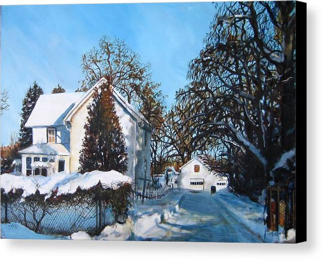 Landscape Canvas Print featuring the painting Winter Drive by William Brody
