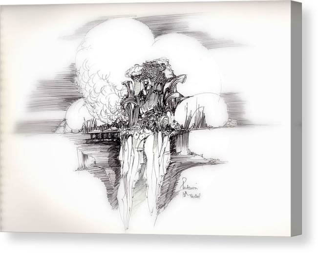 Surreal Canvas Print featuring the drawing Women Rocks And Clouds by Padamvir Singh