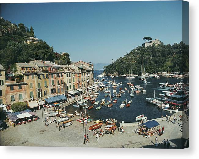 Scenics Canvas Print featuring the photograph Portofino Harbour by Slim Aarons