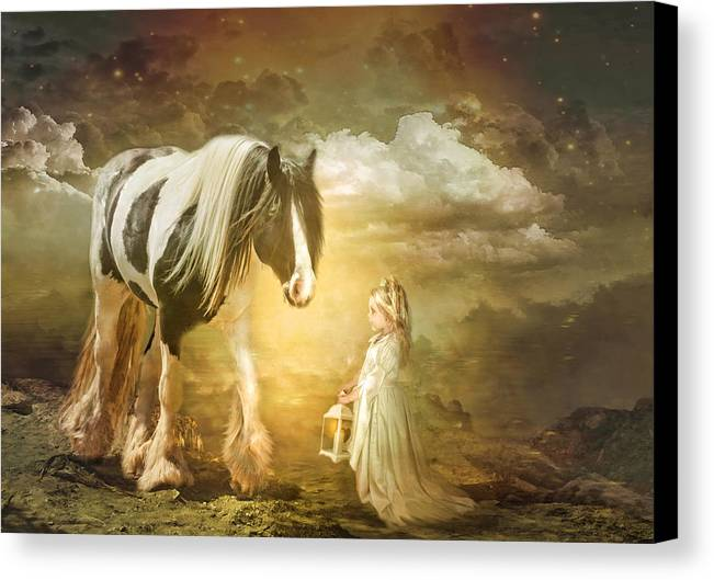 Gypsy Cob Canvas Print featuring the photograph By Lantern Light by Trudi Simmonds