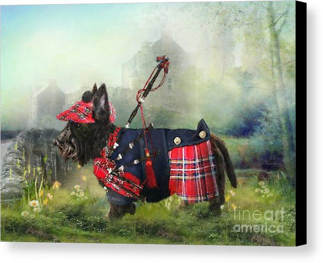Scottish Terrier Canvas Print featuring the photograph Scottie Of The Glen by Trudi Simmonds