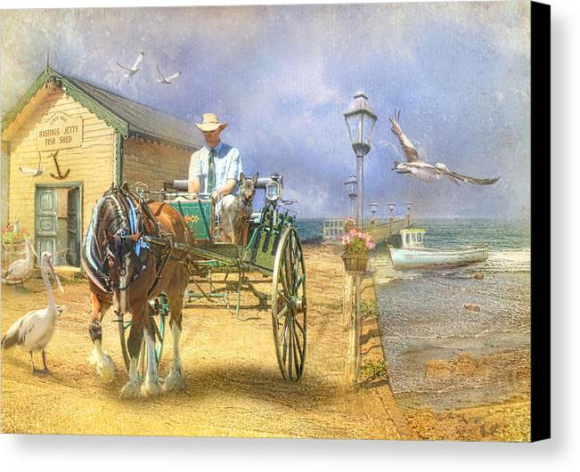 Pelican Canvas Print featuring the photograph The Pelican Pantry by Trudi Simmonds