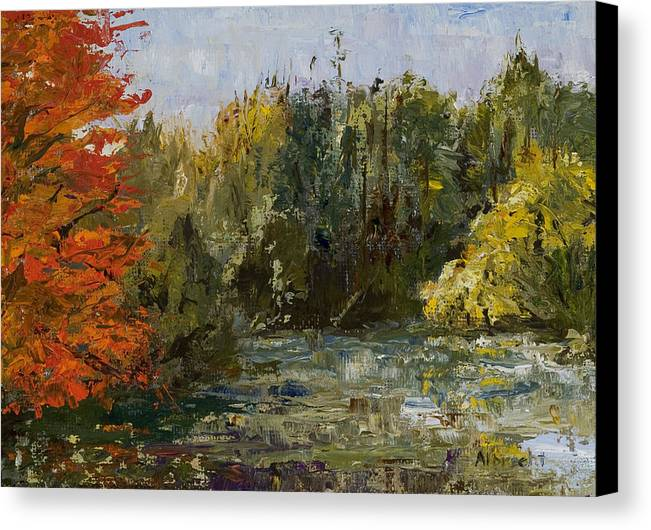 Morton Arboretum Scene Canvas Print featuring the painting Autumn Pond by Nancy Albrecht