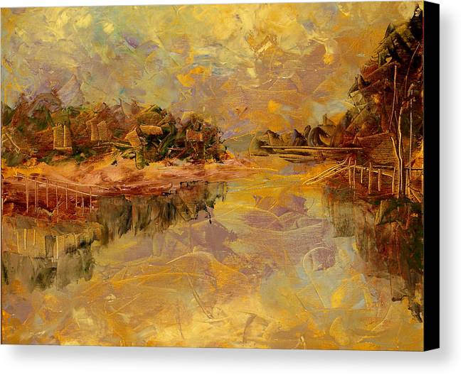 Landscape Canvas Print featuring the painting Bass River by Olga Gernovski