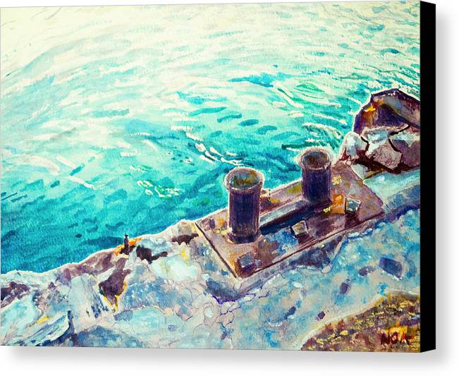 Seascape Canvas Print featuring the painting Harbor Jetty by Aymeric NOA