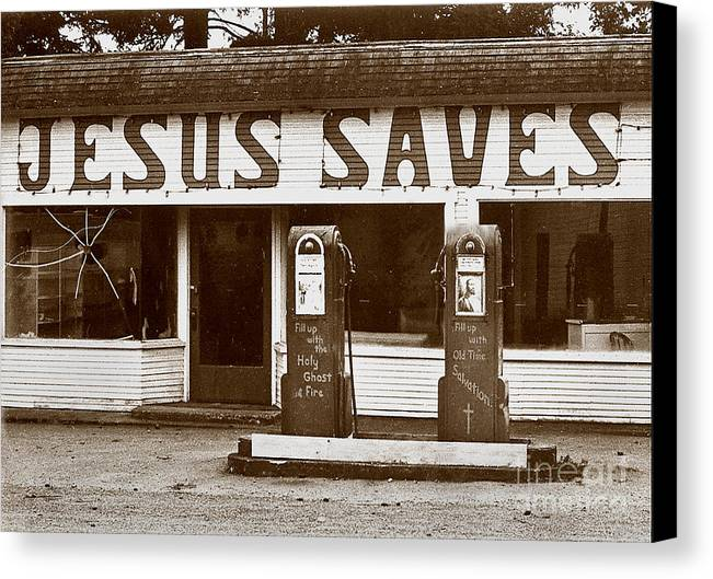 Jesus Canvas Print featuring the photograph Jesus Saves 1973 by Michael Ziegler