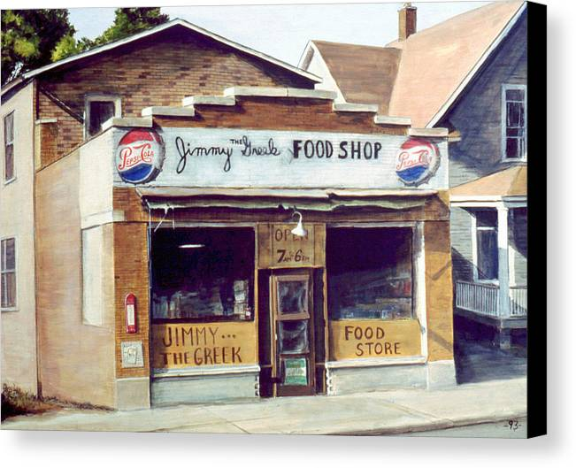 Small Town Canvas Print featuring the painting Jimmy The Greek by William Brody