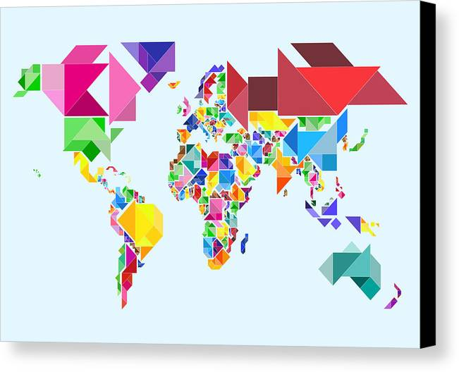 Tangram Map Canvas Print featuring the digital art Tangram Abstract World Map by Michael Tompsett